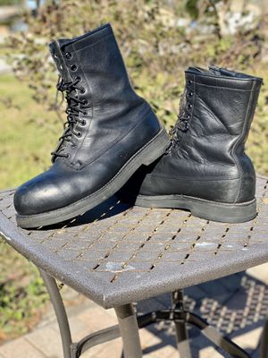 🎖🏍VINTAGE Men Sz 11 W ADDISON SHOE Co Combat Black Leather Boots Military Tactical Jump Boot for Sale in Longwood, FL