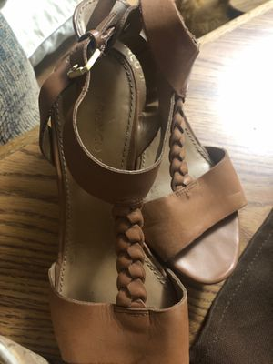 Here another pair of sandals wedge heel size 7 tan light weight for Sale in KS, US