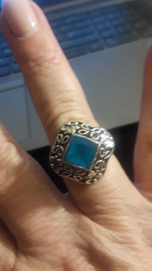 Solid Sterling Silver Ring with Blue Gemstone Size 7.5 for Sale in Anaheim, CA