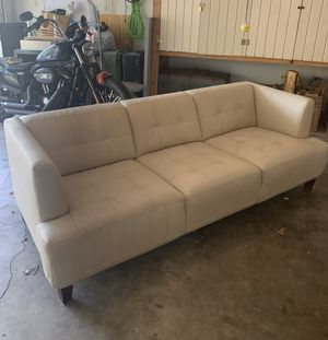 Mid Century Modern Off White Leather Couch for Sale in Austin, TX