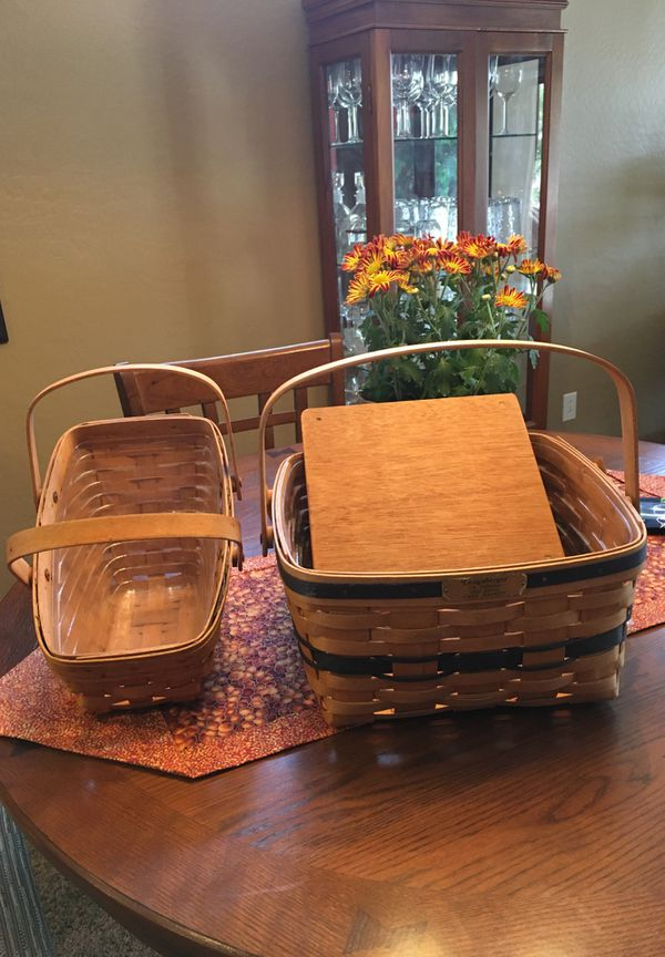 1992 Longaberger cake basket with riser and 1992 Longaberger vegetable basket