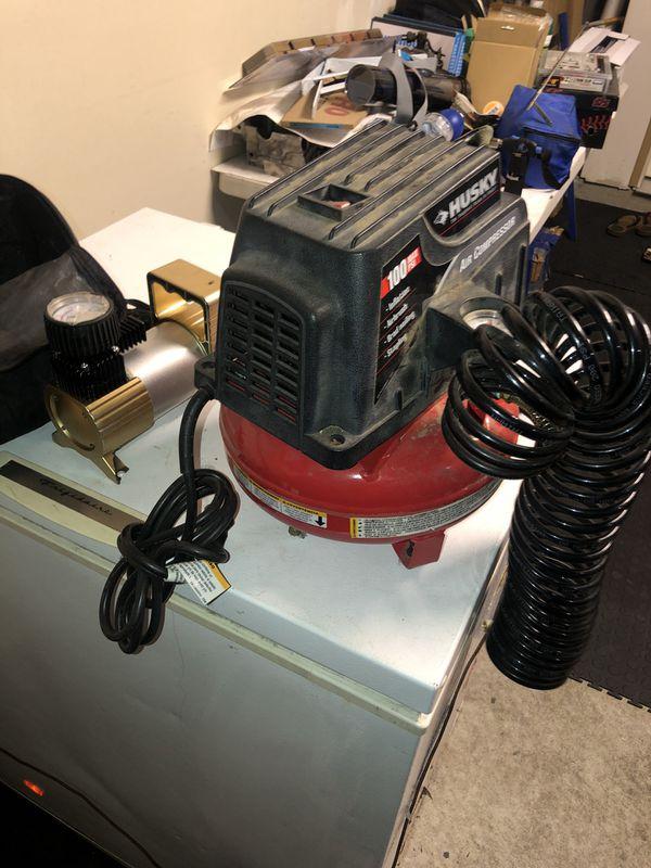 Two mini air compressors