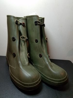 Men's 11 Green Rubber Rain Boots Army Military Galoshes Overshoes Waterproof for Sale in Arlington, TX
