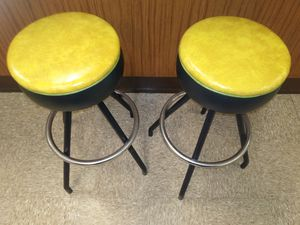 Vintage mid century yellow + green bar stools for sale for Sale in St. Louis, MO
