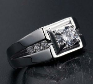 S925 Silver White Gold Plated 1CT Round CZ Mens Ring for Sale in Wichita, KS