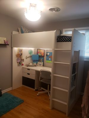 IKEA Loft bed, white with closet, desk and shelf! for Sale in Mount Prospect, IL