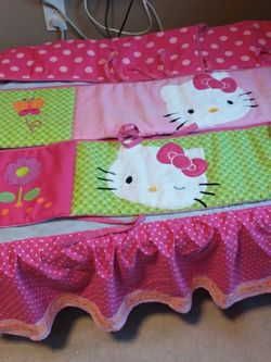 ORIGINAL HELLO KITTY BED SKIRT RUFFLE AND 4 PIECE BUMPER PAD FOR BABY CRIB/TODDLER BED for Sale in Calexico,  CA