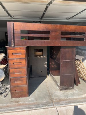 Loft bunk with desk and bookshelves for Sale in Murrieta, CA
