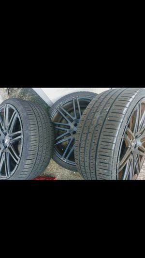 "3 - 20"" X 8.5 Xo Luxury Milan Black Rims + tires for Sale in Lakeland, FL"