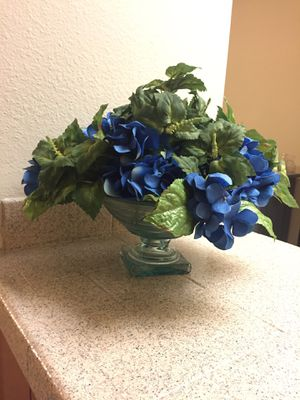 Blue artificial Flowers with glass vase for Sale in San Diego, CA