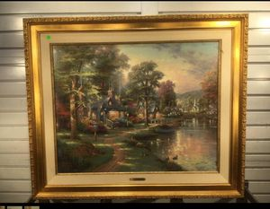 "Thomas Kinkade Painting Hometown Lake 24"" x 30"" w/ COA 706/1240 for Sale in New Britain, CT"
