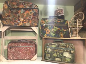 Vintage bohemian boho luggage suitcases $30 each for Sale in San Diego, CA