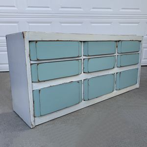 Awesome white and light teal shabby distressed large nine drawer dresser for Sale in San Diego, CA