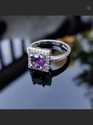 NEW Georgous Princess Cut Amethyst & Cubic Zirconia 18k White Gold Filled Ring Size 7 for Sale in Arbovale, WV