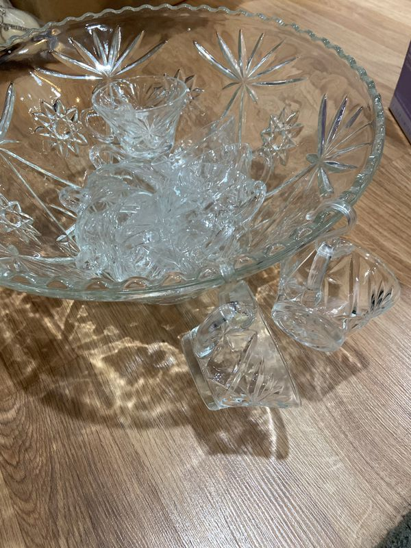 Glass Punch Bowl with 10 Hanging Cups