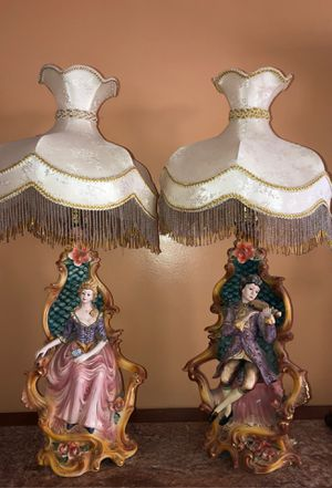 Antique ceramic lamp pair from Italy by Lorenzon for Sale in Whittier, CA