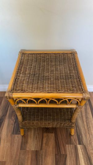 Rattan and bamboo side table for Sale in Lake Elsinore, CA