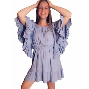Jane plus one light blue mini short above knee dress big flare arms sleeves medium women's for Sale in Fenton, MO