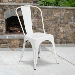 NEW $30 Each Metal Iron Steel Chair Black White or Gun Metal Color Stackable 340 lbs Capacity Dining Indoor Outdoor Chair for Sale in Whittier,  CA