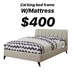 Cal king bed frame + Mattress for Sale in Hawaiian Gardens, CA