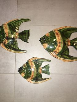 Vintage Ceramic Fish Set Wall Decor Mid Century 3 Angel Fish for Sale in Pittsburgh,  PA