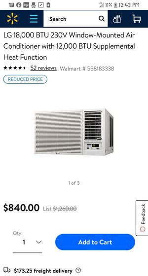 LG 230 volt window mounted AC unit for Sale in Butte La Rose, LA
