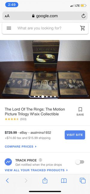 """Lord Of The Rings """" collectors item """" Special Extended Edition The Motion Picture Trilogy Blu Ray for Sale in Center Point, AL"""