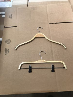 Wooden Clothes Hangers W or W/O clip for Sale in Anaheim, CA