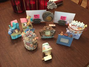 Noah's Ark baby room decorations. Music box, penny bank, picture frames, books ends and free night light that needs a new bulb. for Sale in Ladera Ranch, CA