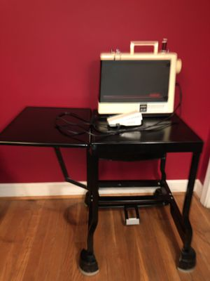 Brother ZA-350 sewing machine & black metal Tiffany sewing table stand for Sale in Atlanta, GA