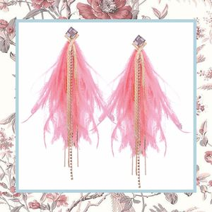 DIAMOND PINK FEATHER EARRINGS BOHO OSTRICH CHIC DANGLE DROP CLUBBING BOHEMIAN FASHION WOMAN GLAMOUROUS RHINESTONE DIAMOND FAUX PRETTY CUTE GIRL LADY for Sale in Las Vegas, NV