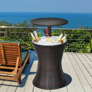 Adjustable Outdoor Patio Rattan Ice Cooler Cool Bar Table Party Deck Pool HW65972 for Sale in City of Industry, CA