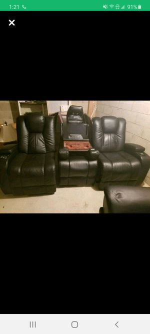 Home theater leather sofa with 2 reclining sofas and charge station for Sale in Toms River, NJ