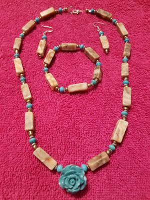 Turquoise flower necklace, bracelet , and earring set for Sale in Philadelphia, PA
