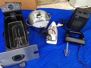 Deep fryer, hand mixer, iron, steamer pot, heater. for Sale in Virginia Beach, VA