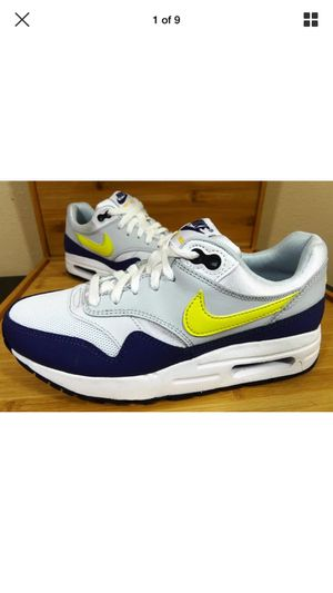 Kids Nike Air Max 1 Running Shoes SZ 5y Women's 7 White/Tour Yellow-Blue Recall 807602-107 for Sale in Tampa, FL