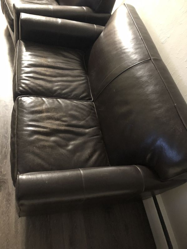 Bauhaus Distressed Brown leather Loveseat and Chair - $140