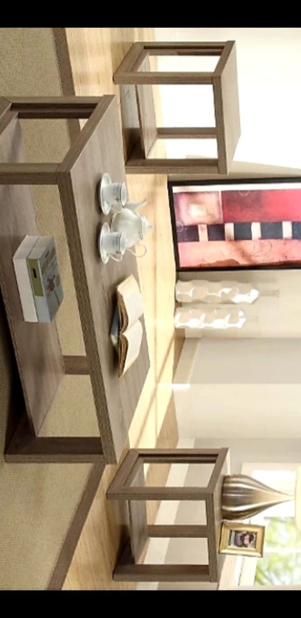 New Audra Taupe 3-Piece Coffee Table Set