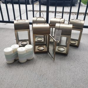 Gold Lanterns plus candles for Sale in Helena, MT