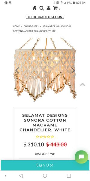 Selamat design senora cotton macrame chandelier for Sale in Leavenworth, WA