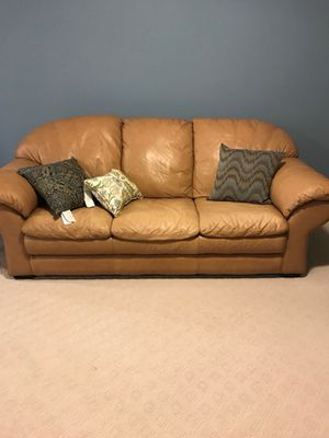 Tan Leather Couch for Sale in Charlottesville, VA