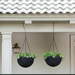 "Outdoor Furniture Garden Flowers Plants Esferas Colgantes Plantas Materos Flores Keter Planters 13.8"" Hanging Sphere Brown Or Grey (pack of 2) for Sale in Miami,  FL"