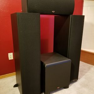 Klipsch Surround Speaker System. 2 Towers, Center, Powered Subwoofer for Sale in Aloha, OR