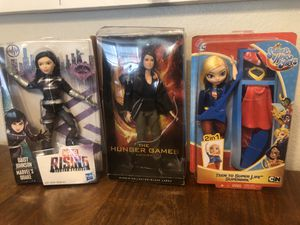 Dolls supera hero's . Girls Rule Hunger Games , Barbie . Super girl marvel collectible for Sale in Chula Vista, CA