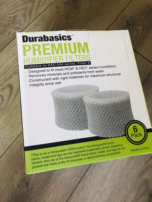 Durabasics 6 pc premium humidifier filters hac-502 series filter A for Sale in Las Vegas, NV