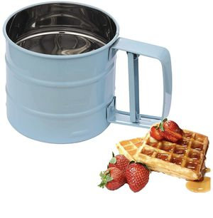 Flour Sifter for Baking, DOCANJNG Handheld Flour Sieve with 24 Fine Mesh Stainless Steel Screen Baking Tool for Sugar, Flour and Coffee Powder (blue) for Sale in Houston, TX