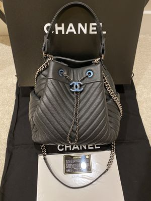 Chanel small chain drawstring bucket bag Chevon deerskin with ruthenium hardware for Sale in Bellevue, WA