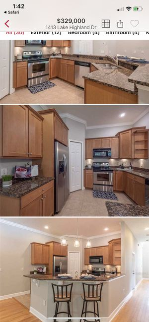 Kitchen upper and lower cabinets, granite counters and bath vanities for sale. $2,000 for all. Not yet removed, open to buyer removing themself. Down for Sale in Orlando, FL
