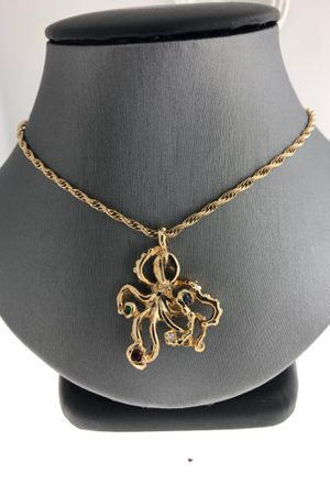 14Kt Yellow Gold Octopus Pendant And Rope Chain for Sale in Fort Pierce, FL