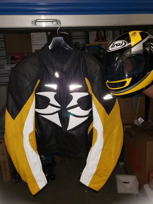 Hein gericke leather motorcycle jacket and helmet for Sale in Bell Gardens, CA